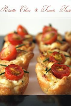 Ricotta, Chive & Tomato mini tarts for morning tea with a friend. Perfect for Christmas Day Brunch. High Tea Food, Mini Tart, Tasty, Yummy Food, Mets, Appetisers, Appetizer Recipes, Food And Drink, Cooking Recipes