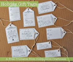 "Heart Handmade UK: Free Printable Illustrated ""From Santa"" and Plain Tags from Compulsive Craftiness"