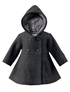 Baby Girl's Hooded Wool Mix Coat (Light Warmth) BEIGE MEDIUM SOLID+GREY DARK MIXED COLOR+PINK BRIGHT SOLID - vertbaudet enfant