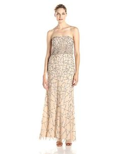 Adrianna Papell Women's Long Strapless Beaded Dress with Deco Beading