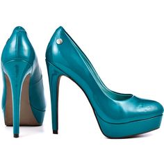 Blink Women's Brendaa - Emerald Patent (87 BAM) ❤ liked on Polyvore featuring shoes, pumps, blink, patent leather shoes, green high heel shoes, patent pumps, stilettos shoes and almond toe pumps