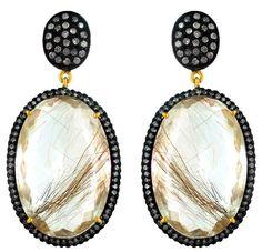 Sterling Silver Rutile Quartz Dangle Earrings Pave Diamond 14k Gold Fine Jewelry…