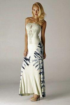 Boho Tie Dye Maxi Dress Casual Crochet Front