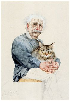 Einstein with a tabby, imagined by Michael Mathias Prechtl