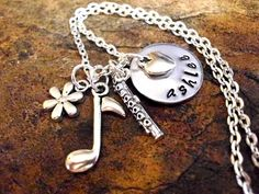 Personalized Music Necklace Flute Necklace by CharmAccents on Etsy