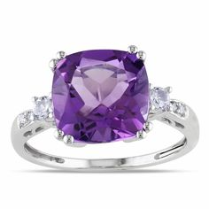 Miadora 10k White Gold Amethyst, Created White Sapphire and Diamond Ring | Overstock.com Shopping - The Best Deals on Gemstone Rings