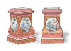 A PAIR OF SEVRES PORCELAIN PINK-GROUND PEDESTAL BULB-POTS (PIEDESTAL A OIGNON) WITH BLUE INTERLACED LS, ONE ENCLOSING DATE LETTER E FOR 1757-1758,