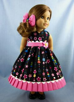 18 Inch Doll Clothes  - Sundress and Hair Bow in Black and Pink Floral - Fits American Girl