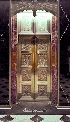 art deco elevator door