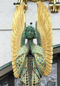 Art Deco Angel at the Kirche am Steinhof, Vienna, Austria, designed by Otto Wagner.