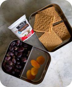 Easy lunch box ideas: graham cracker PB coconut milk yogurt; grapes; and dried apricots. http://www.LunchBoxBlues.com