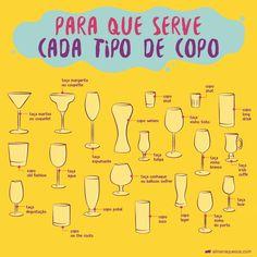 Você sabe para que serve cada tipo de copo?   Almanaque SOS