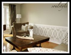 """Modern DIY wainscot  (<a href=""""http://www.soulstyle.ca/word/living-room-wainscot"""" target=""""_blank"""">www.soulstyle.ca/...</a>)"""