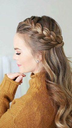 braided hairstyles that look so great - Frisuren - Wedding Hairstyles Cute Hairstyles For Teens, Holiday Hairstyles, Teen Hairstyles, Wedding Hairstyles, Hairstyles 2018, 1930s Hairstyles, Evening Hairstyles, Hairstyles Videos, Princess Hairstyles