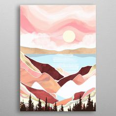 Beautiful Autumn Lake Sunrise Print Metal on your House / Apartment Decorations Simple Canvas Paintings, Easy Canvas Art, Small Canvas Art, Cute Paintings, Mini Canvas Art, Paintings With Quotes, Easy Nature Paintings, Abstract Painting Easy, Coral Painting