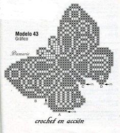 Filet Crochet, Crochet Stitches, Crochet Butterfly Pattern, Create Picture, C2c, Double Crochet, Cross Stitch, Diagram, Knitting