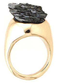 cosafina raw black hematite ring.