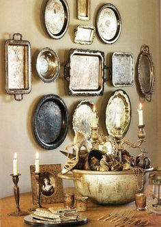 Silver Platters Hung on Wall