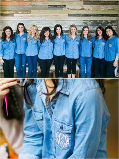Mix up the custom monogrammed bridesmaid shirt with a chambray shirt! | http://www.weddingpartyapp.com/blog/2014/08/20/totally-unique-getting-ready-attire-bridesmaids-love/