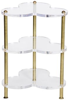 Clover Acrylic Side Table in Antique Brass Finish