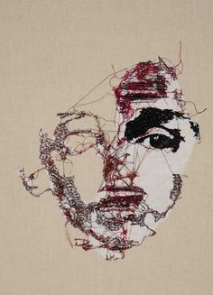 Ebroidery by Marjolein Starreveld Textile Fiber Art, Textile Artists, Art Du Fil, Thread Art, Sewing Art, Art Plastique, Embroidery Art, Fabric Art, Figurative Art