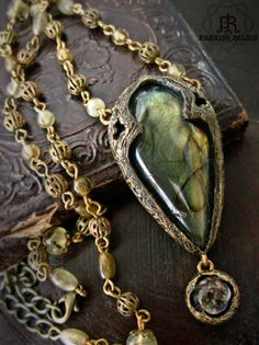 Gothic Arch Labradorite & William Morris  ~ Necklace by Parrish Relics