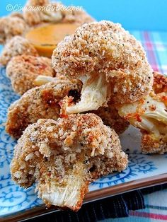 Cauliflower Bites with Cheddar Mustard Dipping Sauce ~ Fresh cauliflower florets are dipped in dijon-seasoned egg whites then coated with parmesan cheese bread crumbs and baked to a golden brown.