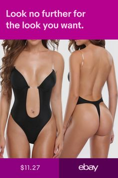 69e1cc4c75533 Womens Backless Full Body Shaper Convertible Push up Bra Slimming Thong  Bodysuit