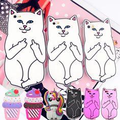 Für iphone 4 s/5 5 s/5c/se/6 6 s 7/6 plus 6 s plus 7 plus ripndip tasche cat silikonkautschuk handy-fällen abdeckungen