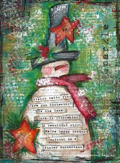 Image result for christmas mixed media canvas