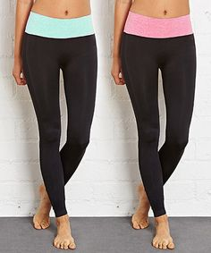 Another great find on #zulily! Blue & Pink Color Block Fold-Over Yoga Pants Set #zulilyfinds