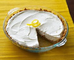 "There is no simpler dessert than this lemon cream pie. Only 4 ingredients and NO BAKING! Cool and creamy, this pie is the perfect finish to a summer BBQ. Make it when you're short on time but heading to a potluck. Truly a simple ""anytime"" dessert. No Bake Desserts, Easy Desserts, Delicious Desserts, Dessert Recipes, Pie Dessert, Cool Whip Pies, 4 Ingredient Desserts, Yummy Treats, Sweet Treats"