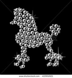 Diamond poodle icon on black background. Vector art.