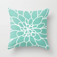 Dahlia Pillow Cover Mint Green Modern Flower Home by AldariHome, $35.00