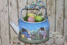Easter Bunny Tea Kettle Hand Painted Easter Decor by raggedyjan, $40.98
