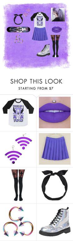 """Purple pastel goth"" by emobandgeekforlife ❤ liked on Polyvore featuring Marina Fini, Skool, Leg Avenue, yunotme, T.U.K. and pastelgoth"