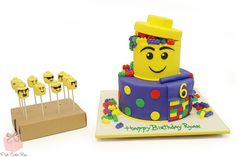 Lego Block Birthday Cake with Cake Pops for Ryan's 6th birthday