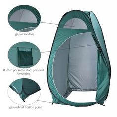 GigaTent Portable Pop Up Changing Room Green-ST002 - The Home Depot Toilet Tent, Camping Toilet, Shower Tent, Beach Shower, Pop Up Changing Room, Tent Room, Camping Shelters, Outdoor Privacy, Portable Toilet