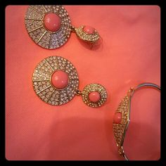 Super Cute Earrings & Bracelet Set Gold with coral/peach stones. Never worn. Jessica Simpson Jewelry