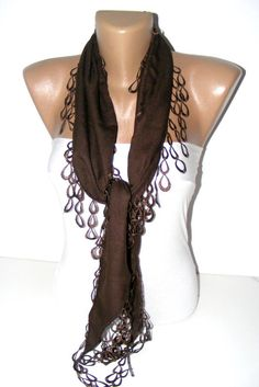 New chocolate brown NEW pashmina fabric scarf with by scarvesCHIC, $15.00