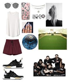 """Making football (soccer) videos with the Sidemen"" by hannah-chisham ❤ liked on Polyvore featuring Wood Wood, Gap, Ray-Ban, Casetify, adidas and NIKE"