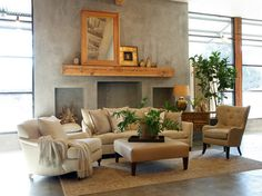 20 Concrete Fireplace Designs Highlighted in Well-Designed Living Rooms
