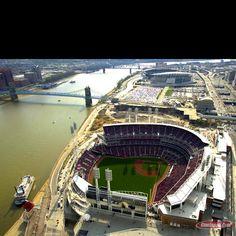 Great American Ballpark Cincinnati, OH-Cincinnati Reds, in distant Paul Brown stadium- Cincinnati Bengals