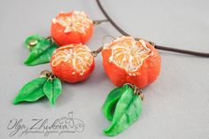 set with mandarins from polymer clay