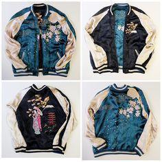 Japanese Classic Script Kyoto Maiko Oiran Geisha Kimono Sakura Cherry Blossoms Sukajan Jacket - Japan Lover Me Store