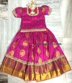 PInk Pattu Lehenga for Kids - Indian Dresses Kids Dress Wear, Kids Gown, Kids Wear, Kids Lehanga Design, Kids Frocks Design, Baby Lehenga, Kids Lehenga, Kids Blouse Designs, Long Dress Design