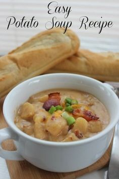 Creamy, filling and full of stick-to-your-ribs goodness! This easy Potato Soup recipe takes just a few minutes to put together and then it will cook in your slow cooker for about 8 hours. When it is done, just serve it with some nice crusty bread and you have a hearty dinner!