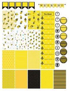 Bumble Bee Happy Planner Printable Stickers