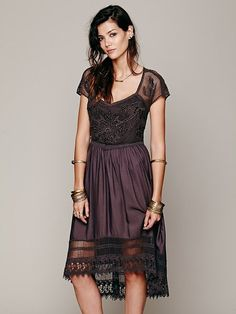 Free People Black Seashore Battenburg Dress