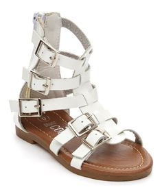 $12.99 Another great find on #zulily! White Buckle Gladiator Sandal #zulilyfinds http://www.zulily.com/invite/jgelpi161